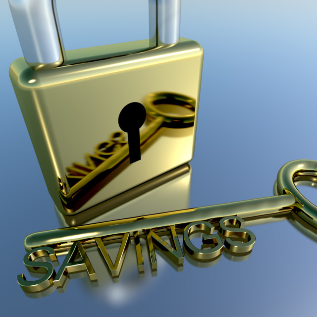 """Padlock With Savings Key Showing Investment Growth And Wealth"" stock image"