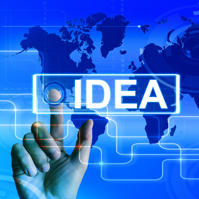"""Idea Map Displays Worldwide Concept Thought or Ideas"" stock image"