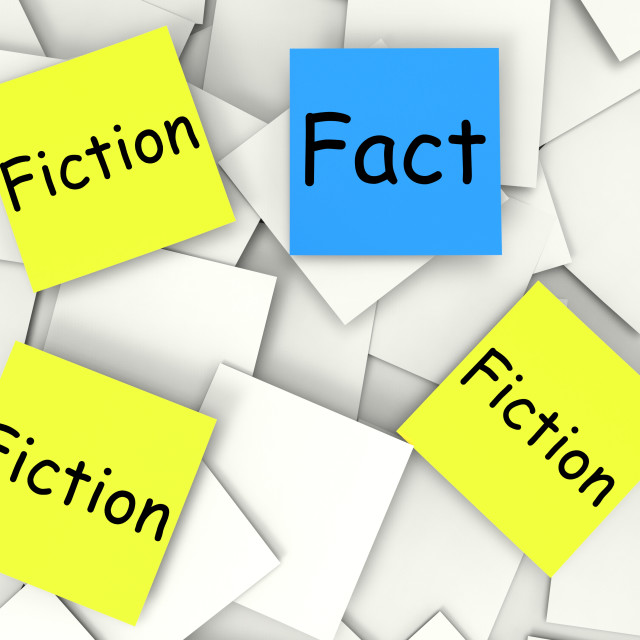 """Fact Fiction Post-It Notes Show Factual Or Untrue"" stock image"