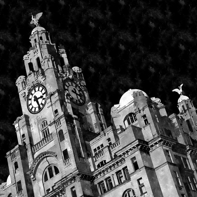"""Royal Liver Building in monochrome"" stock image"