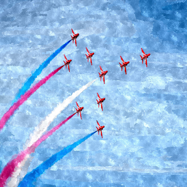 """Red Arrows in Concorde"" stock image"