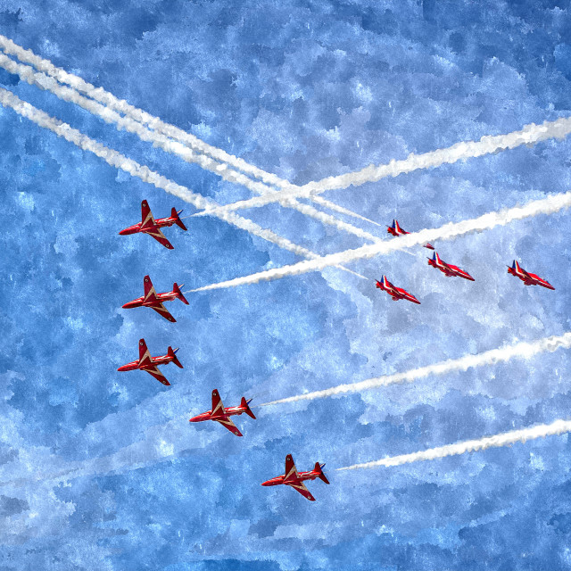 """Red Arrows cross in ""Enid"" & ""Small Swan"""" stock image"