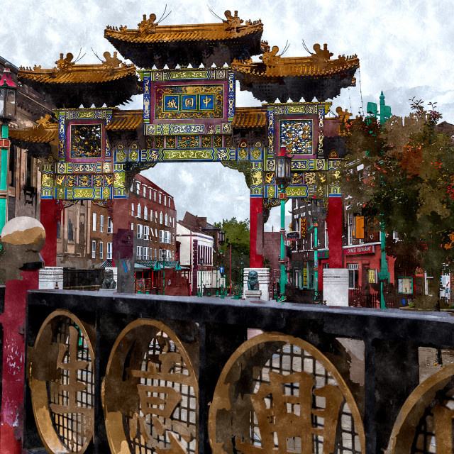 """Railings in front of the archway at Liverpool's china town"" stock image"
