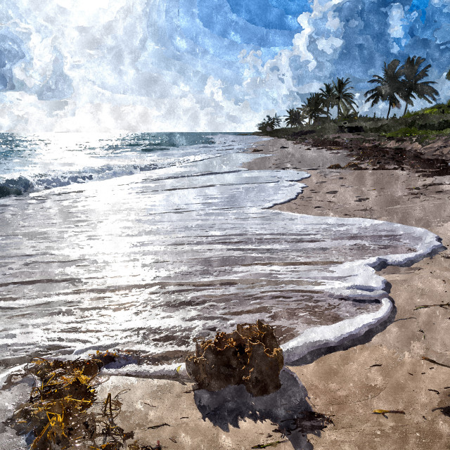 """""""Waves break on a beach in Cayo Coco"""" stock image"""