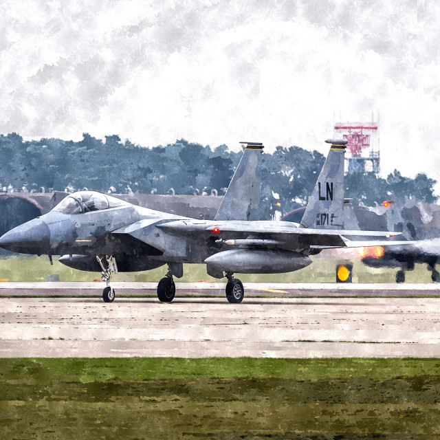 """F-15 Eagle's taking off"" stock image"
