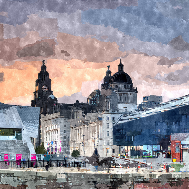 """""""Pier Head seen from the Albert Dock at Liverpool."""" stock image"""