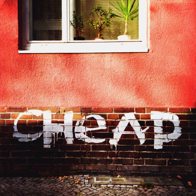 """""""Cheap graffiti on a house in the neighbourhood Schillerkiez in Neukoelln, Berlin, Germany"""" stock image"""