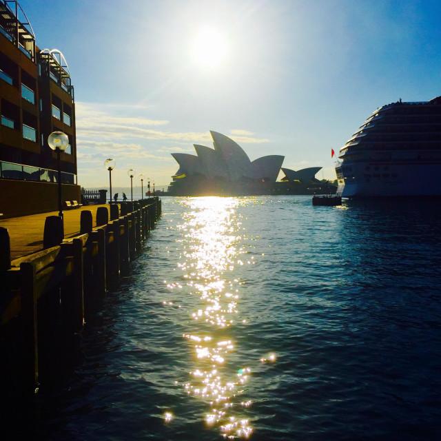 """The sun above Sydney opera house, Australia"" stock image"