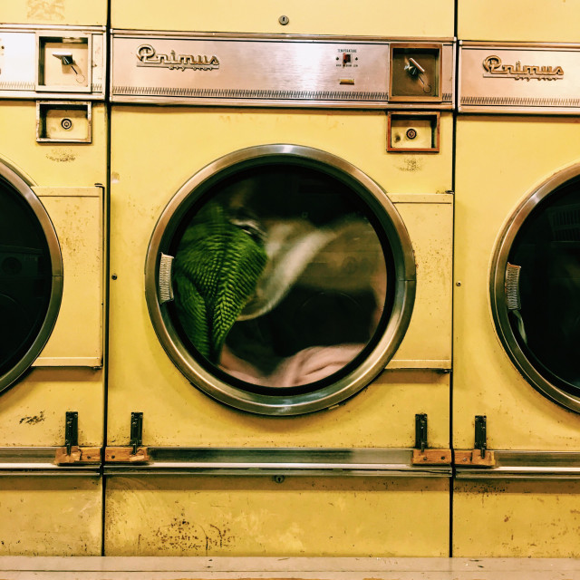 """""""Drying your stuff in a laundrette"""" stock image"""