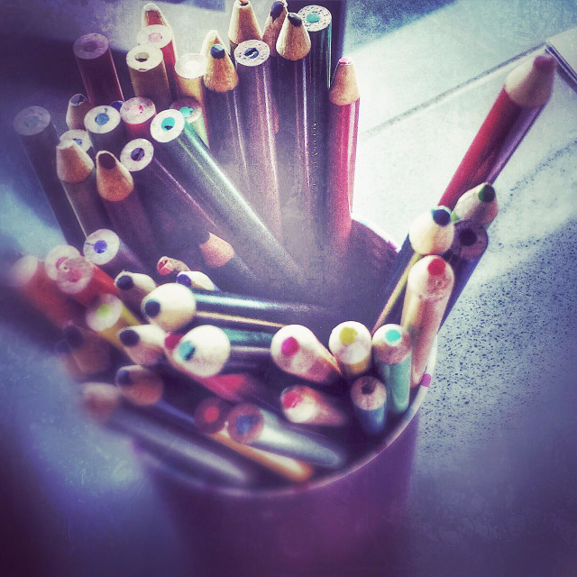 """""""Colored pencils just waiting to be used."""" stock image"""