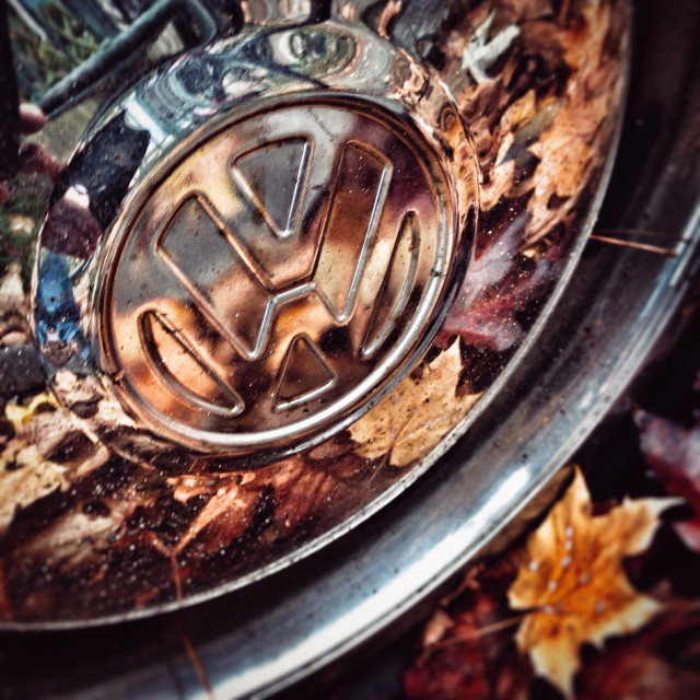 """A VW hub cap in chrome in autumn"" stock image"