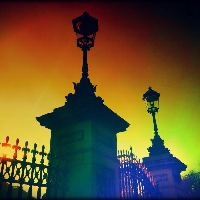 """Buckingham Palace lampposts, City of Westminster, Central London, England, United Kingdom, Europe"" stock image"