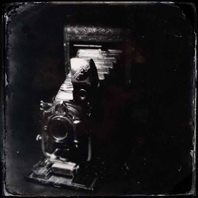 """Vintage Kodak autograph camera captured in tin type photography style"" stock image"