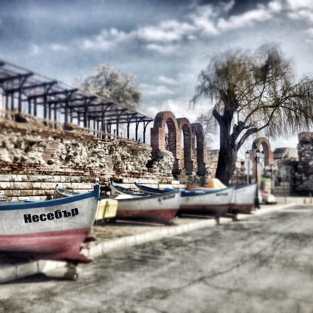 """""""Spring view from Nessebar, Bulgaria fisherman boats"""" stock image"""