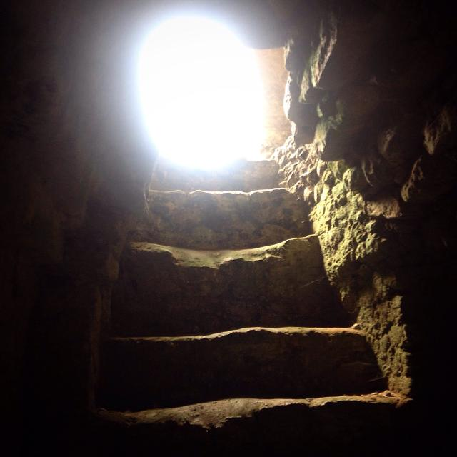 """""""Light enters a tomb in the Mayan city of Caracol, Cayo, Belize"""" stock image"""