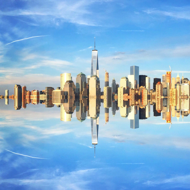 """Reflected skyline"" stock image"