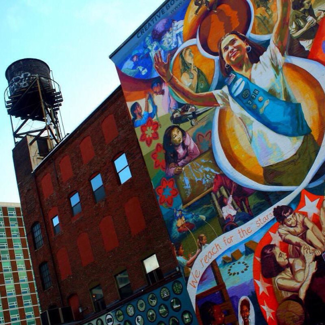"""""""Philadelphia Water Tower with mural"""" stock image"""