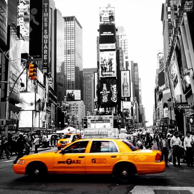 """New York, nyc, usa, sin city, black and white, yellow taxi, cab, times square, new york black and white, new york city, new york yellow cab"" stock image"