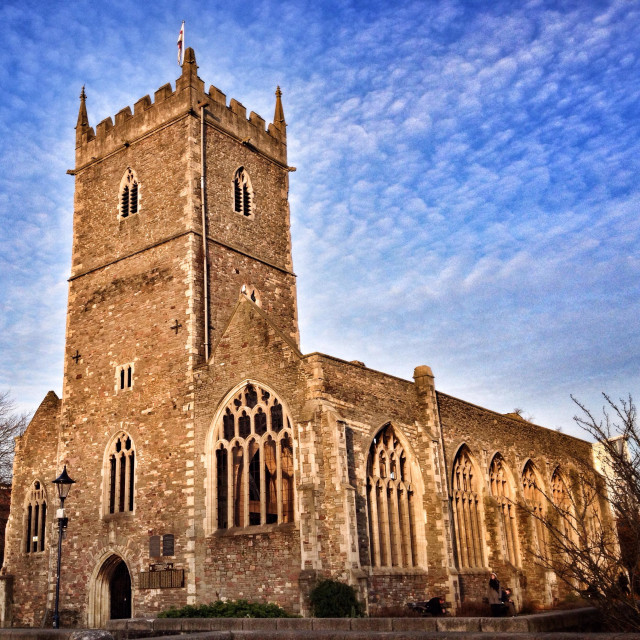 """""""The ruins of St Peter's, a church in Bristol, England, which was destroyed by bombing during World War II"""" stock image"""
