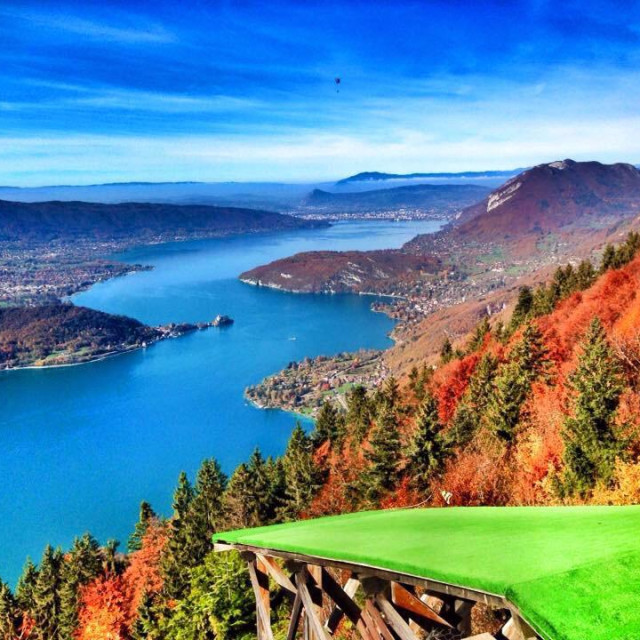"""""""Lake Annecy from above"""" stock image"""
