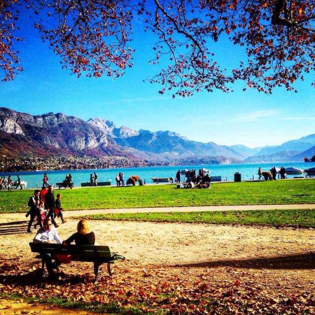 """""""Lake Annecy in Autumn"""" stock image"""