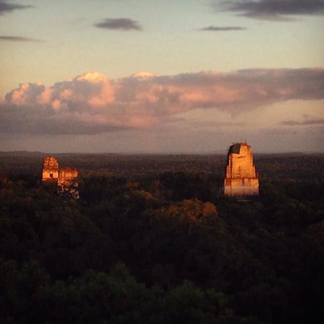 """Sunset in the Mayan city of Tikal, Peten, Guatemala"" stock image"