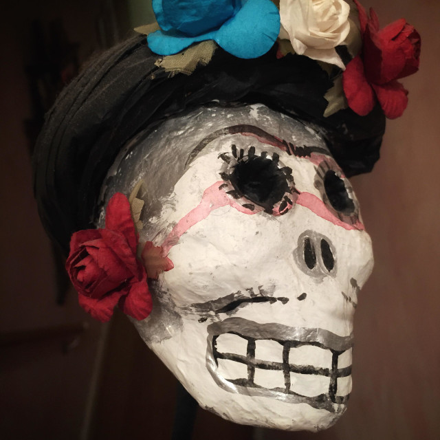 """Mexican day of the dead paraphernalia. Paper mâché skull"" stock image"