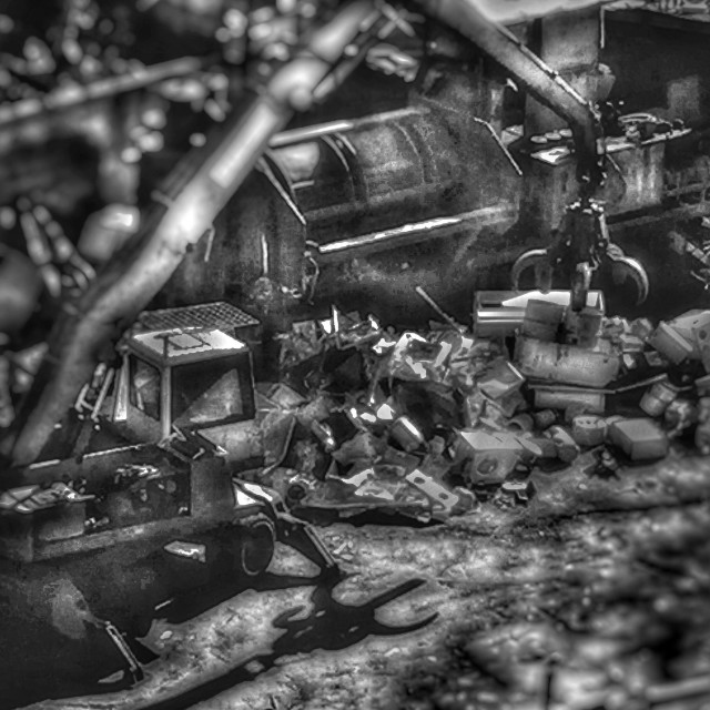"""Steel recycling,Beirut,lebanon,black and white,big trucks, Stella compressor,shadow,steel,aluminum,metal factory"" stock image"