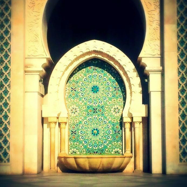 """Fountain at the Hassan II Mosque in Casablanca, Morroco"" stock image"