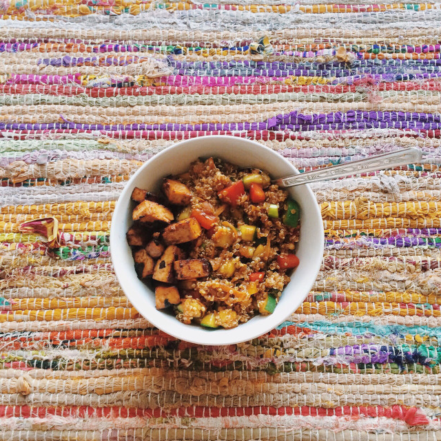 """Quinoa salad and marinated tofu"" stock image"