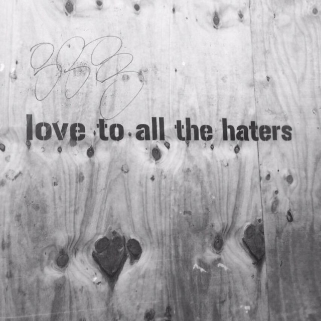 """""""Love to all the haters graffiti"""" stock image"""