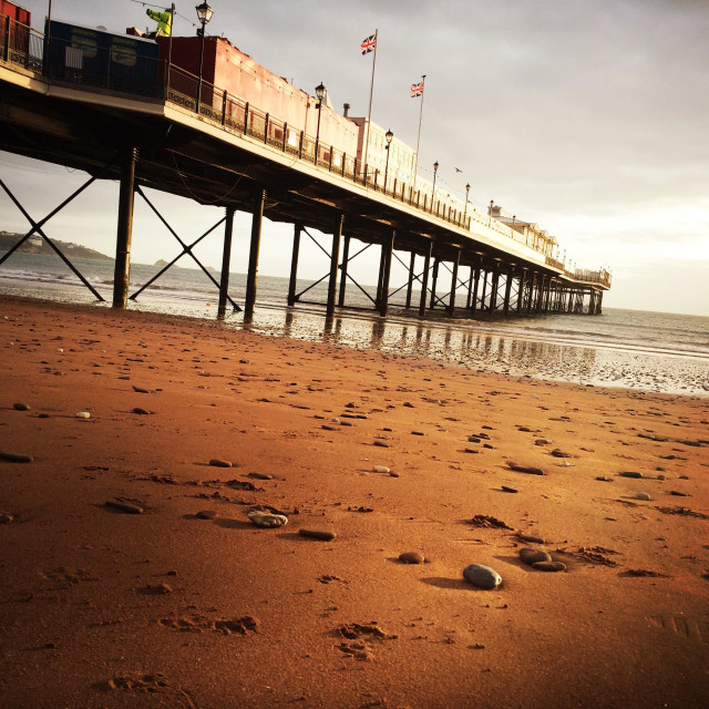 """""""Paignton pier on a damp December day"""" stock image"""