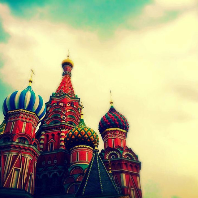 """""""St Basil's cathedral in the red square, Moscow"""" stock image"""