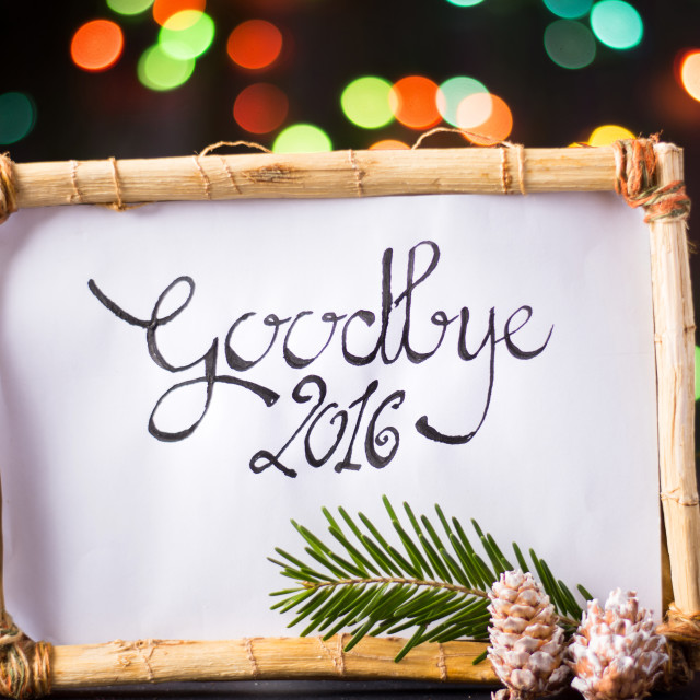 """goodbye 2016 with star colorful bokeh"" stock image"