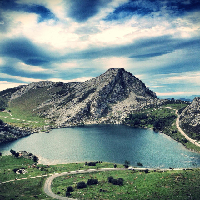 """View of Lake Enol in Covadonga, Asturias - Spain"" stock image"