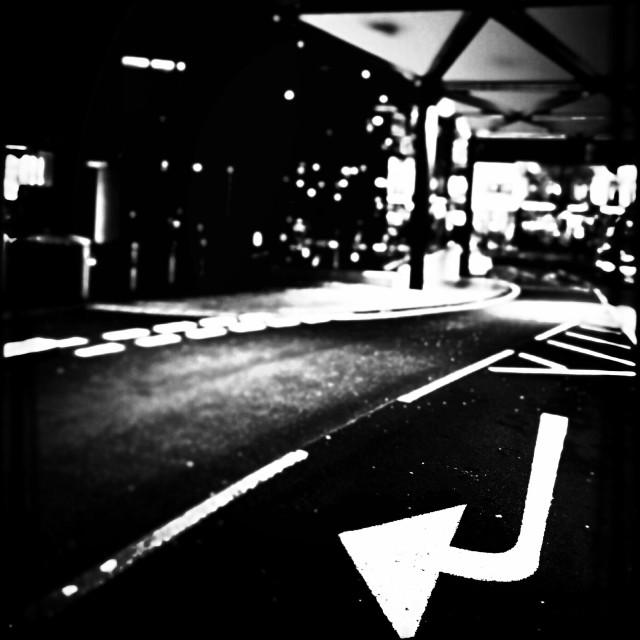 """Arrow road marking, Knightsbridge, Central London, England, United Kingdom, Europe"" stock image"