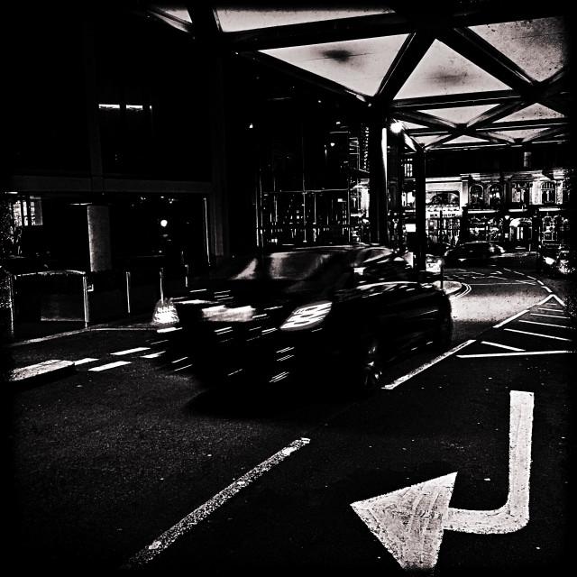 """""""Road marking, Knightsbridge, Central London, England, United Kingdom, Europe"""" stock image"""