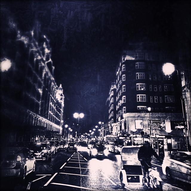 """Harrods at night, Brompton Road, Knightsbridge, Royal Borough of Kensington and Chelsea, Central London, England, United Kingdom, Europe"" stock image"