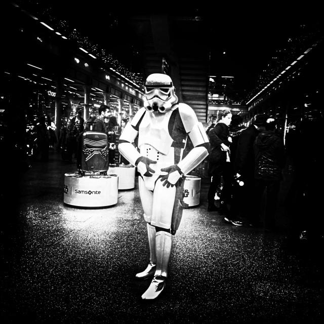 """Man dressed up in Star Wars Stormtrooper costume, St. Pancras International Station, Central London, England, United Kingdom, Europe"" stock image"