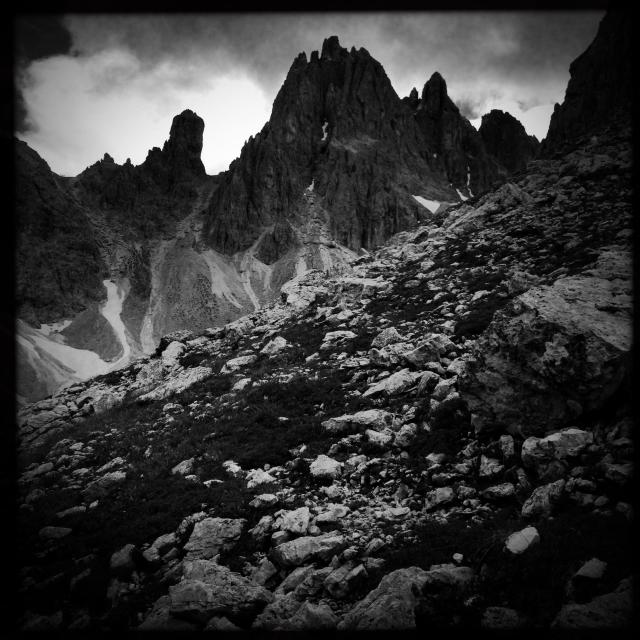 """""""Mysterious moody mountains in the Italian Dolomites"""" stock image"""