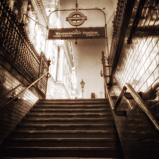 """""""Westminster subway stairs"""" stock image"""
