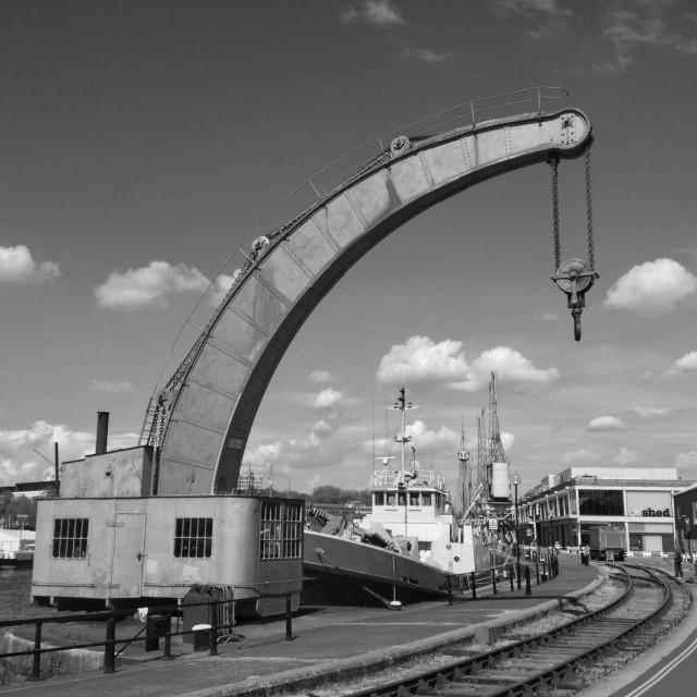 """Fairbairn steam crane, Bristol, England"" stock image"