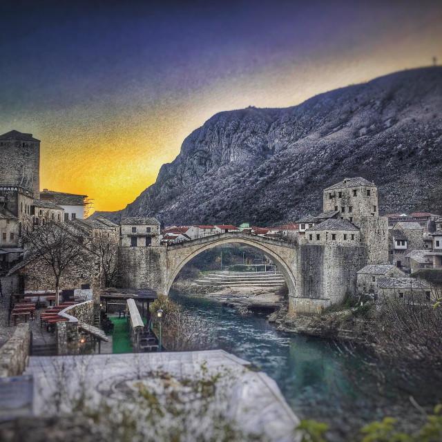 """The historic bridge in Mostar, Bosnia"" stock image"