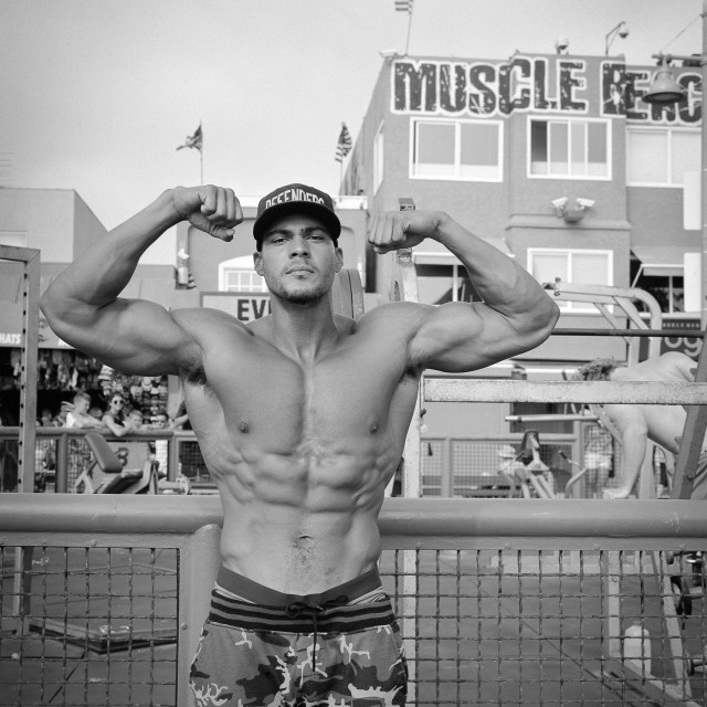 """""""Bodybuilder posing at Muscle Beach"""" stock image"""