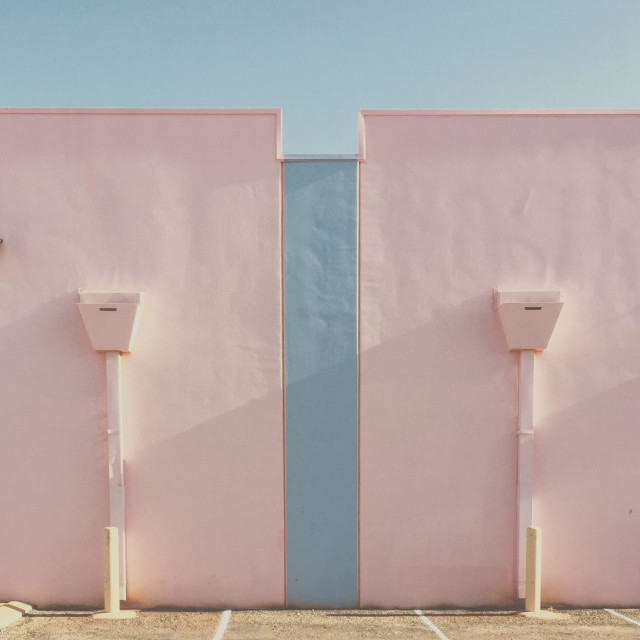"""""""Pastel coloured post modern building"""" stock image"""