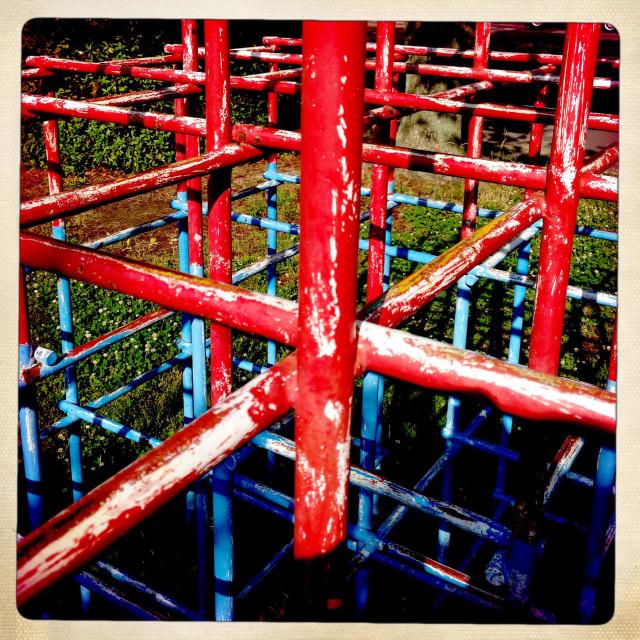 """Old climbing frame / jungle gym"" stock image"