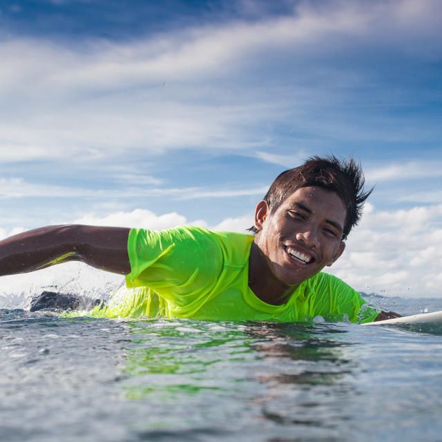 """Smiling Surfer"" stock image"