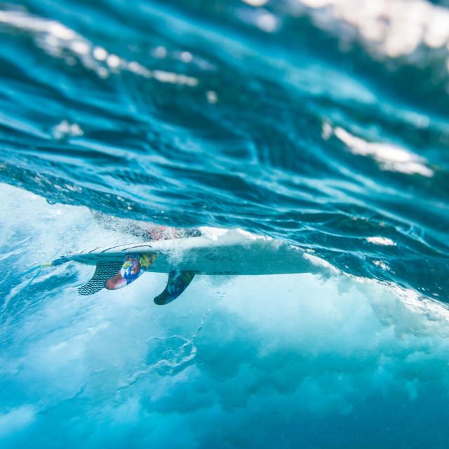 """Surfer Surfboard Fins Underwater"" stock image"