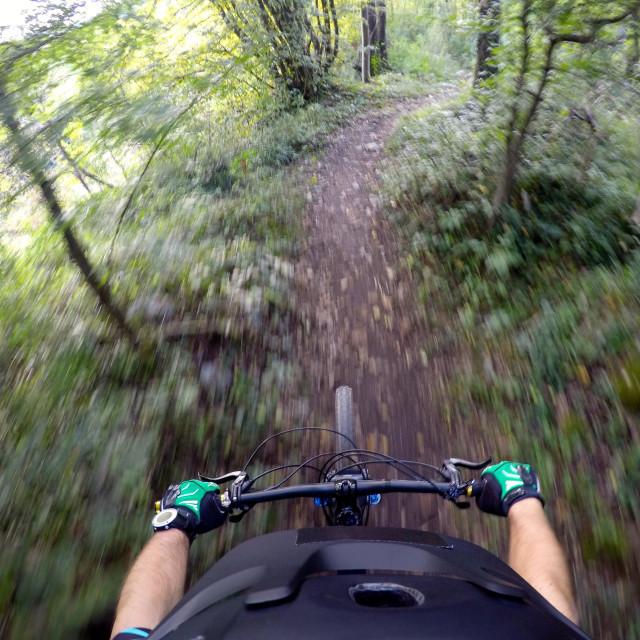 """""""Riding mountain bike POV"""" stock image"""