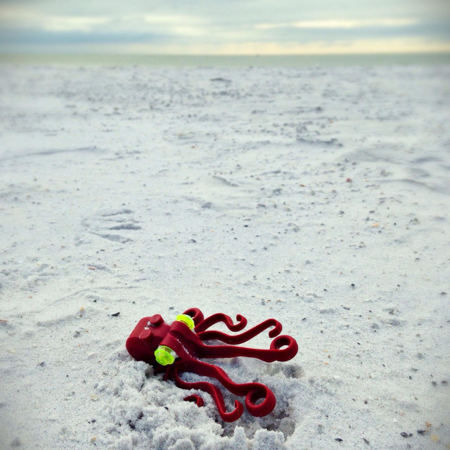 """""""A plastic octopus toy in the sand on a beach."""" stock image"""